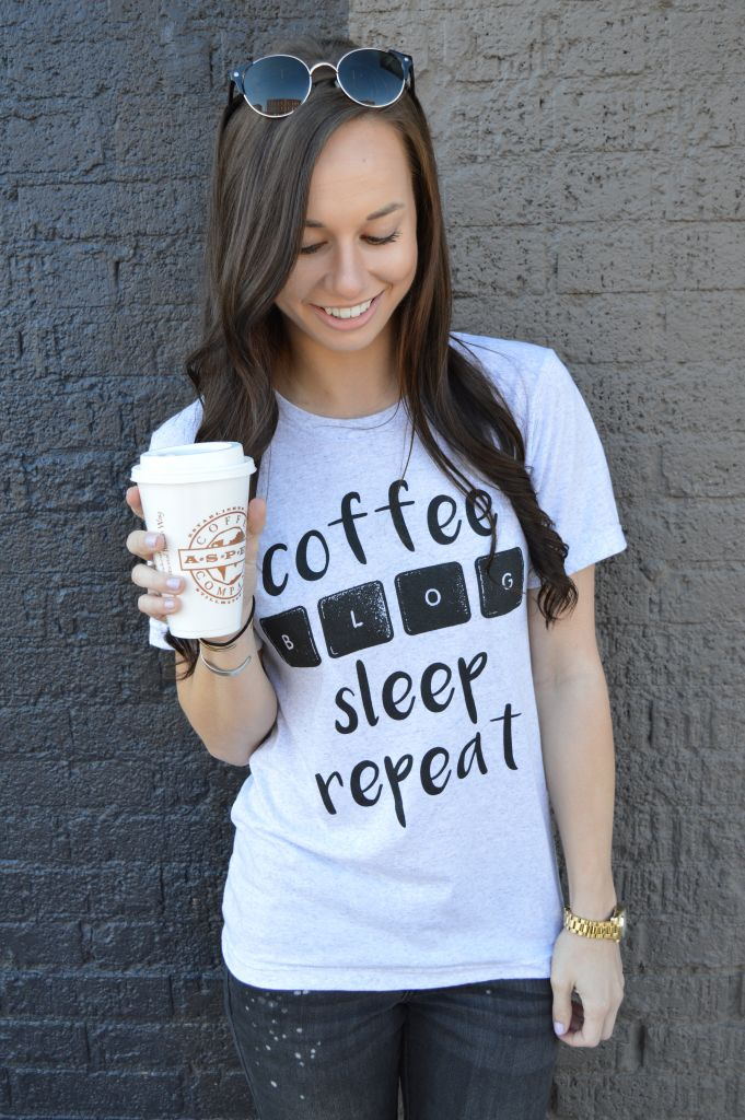 The Closet Dime wearing the signature Coffee, Blog, Sleep, Repeat shirt.
